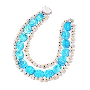 Jewelry - Blue and White Shell Triple Strand Bib Necklace